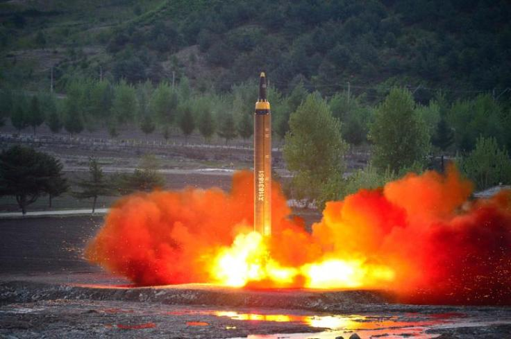 The long-range strategic ballistic rocket Hwasong-12 (Mars-12) is launched during a test